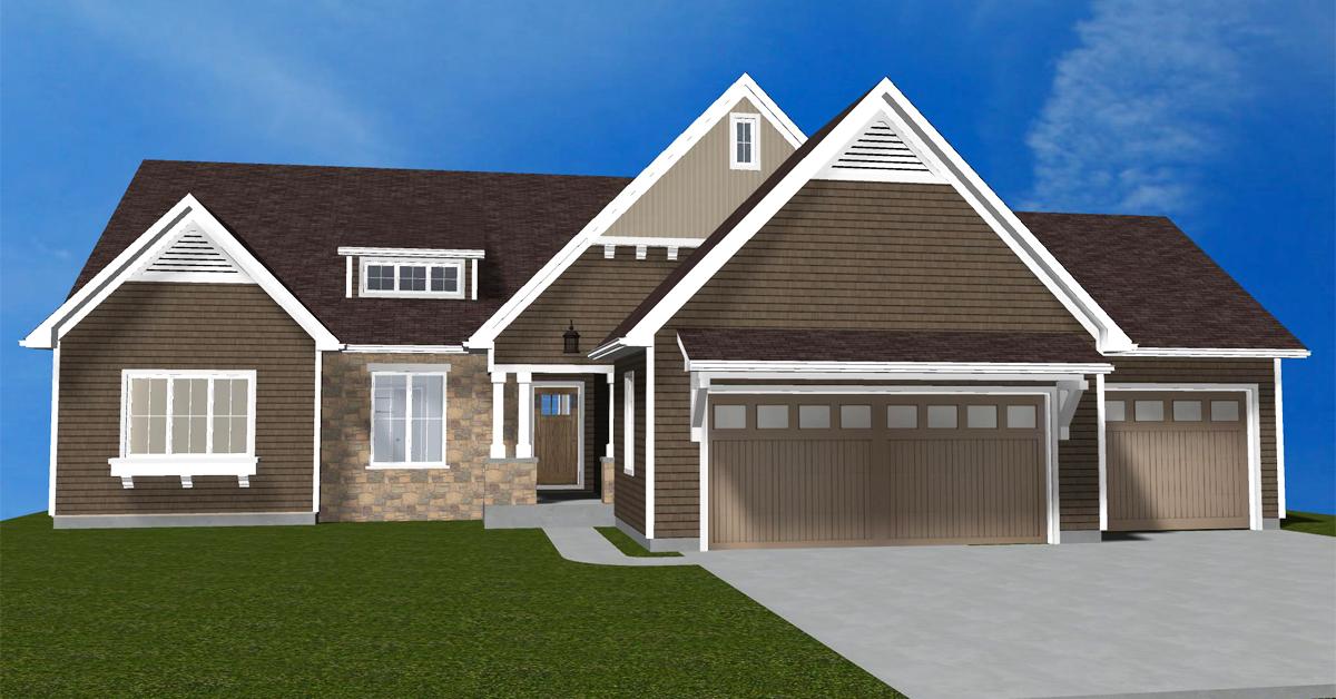 Modern Craftsman Ranch House Design